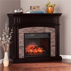 Grantham Corner Electric Fireplace TV Stand in Ebony