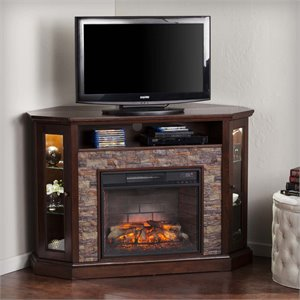 Redden Corner Electric Fireplace TV Stand in Espresso