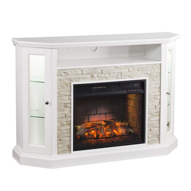 Southern Enterprises Redden Corner Electric Fireplace Tv Stand Fi9393