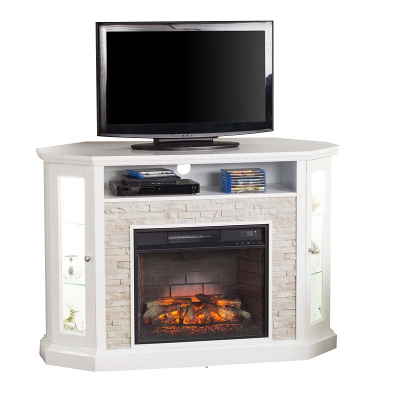 Redden Corner Electric Fireplace Tv Stand In White