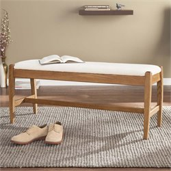 Southern Enterprises Acton Mid Century Modern Bench in Soft Walnut