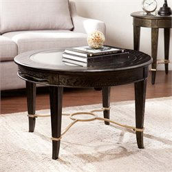 Southern Enterprises Cheswick Round Glass Top Coffee Table in Black