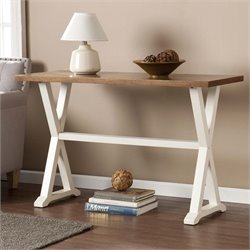 Southern Enterprises Calgary Console Table in Weathered Oak and White
