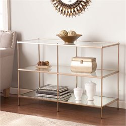 Southern Enterprises Knox Glass Top Console Table in Gold