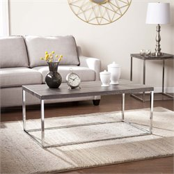 Southern Enterprises Glynn Coffee Table in Gray and Chrome