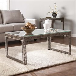 Southern Enterprises Akola Woven Glass Top Coffee Table in Gray
