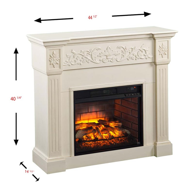 Southern Enterprises Calvert Carved Electric Fireplace In Ivory Fi9279