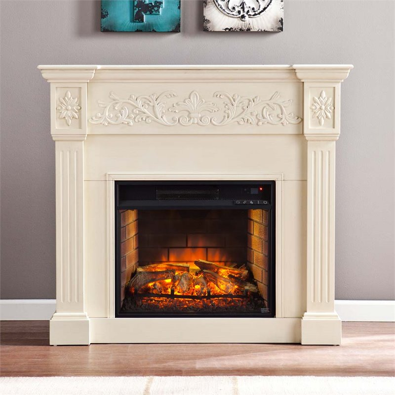 Southern Enterprises Calvert Carved Electric Fireplace In