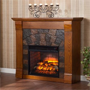 Elkmont Electric Fireplace in Salem Antique Oak