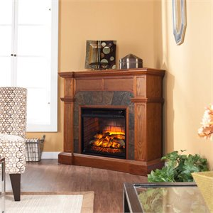Cartwright Corner Electric Fireplace in Oak