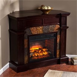 Southern Enterprises Cartwright Faux Stone Corner Fireplace in Brown
