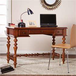 Southern Enterprises Huntleigh Turned Leg Computer Desk in Buckeye Oak