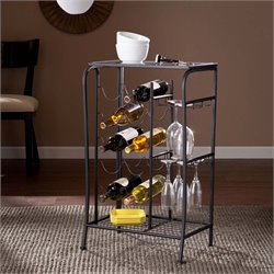 Southern Enterprises Marengo Wine Rack Storage Table in Black