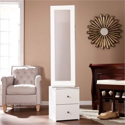 Southern Enterprises Darby Swivel Jewelry Armoire Mirror in White