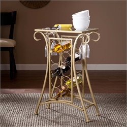 Southern Enterprises Newnan Glass Top Wine Rack Pub Table in Gold