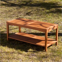 Southern Enterprises Catania Patio Coffee Table in Oiled Brown