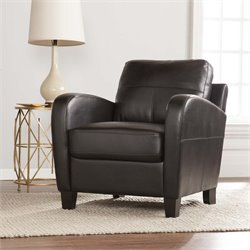 Southern Enterprises Bolivar Faux Leather Lounge Chair in Black