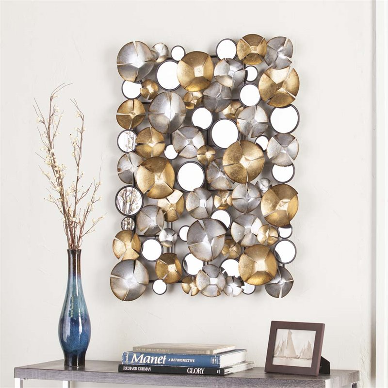 Wall Art Gold And Silver : Southern enterprises locarno metal wall sculpture in gold