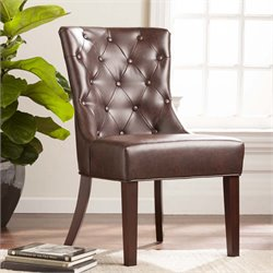 Southern Enterprises Davis Faux Leather Side Chair in Rich Chocolate