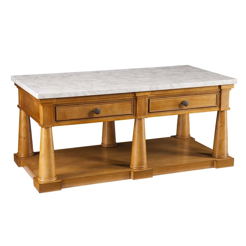 Southern Enterprises Grandview Faux Marble Top Coffee Table In Pine Ck0410