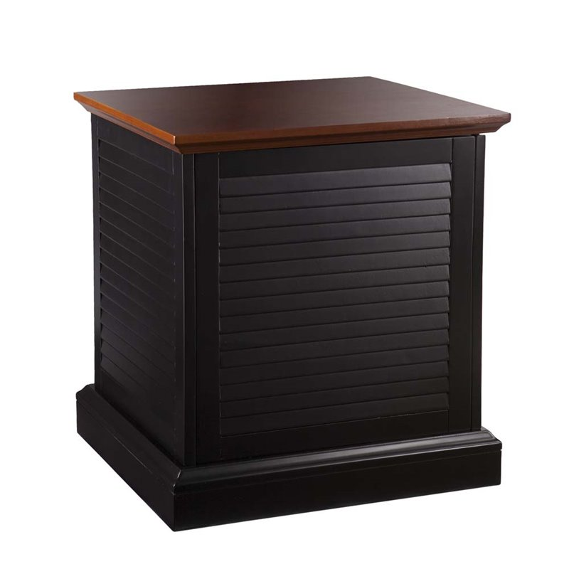 Southern Enterprises Abram Louvered Storage End Table In