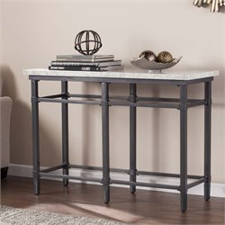 Southern Enterprises Tulane Faux Marble Top Console Table in Black