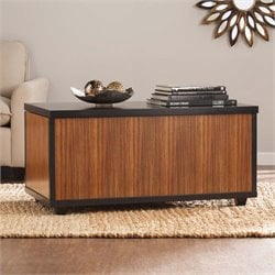 Southern Enterprises Ryecroft Storage Trunk Coffee Table in Zebrawood
