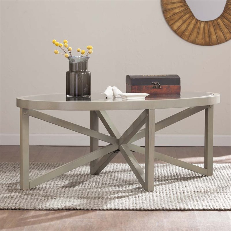 Southern Enterprises Brentwick Oval Glass Top Coffee Table