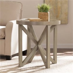 Southern Enterprises Brentwick Round Glass Top End Table in Warm Gray