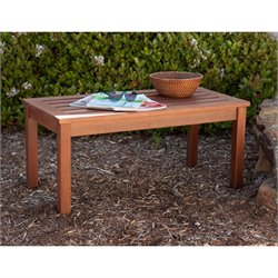 Southern Enterprises Beagan Patio Coffee Table in Dark Oiled Brown