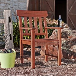 Southern Enterprises Levens Patio Arm Chair in Oiled Brown