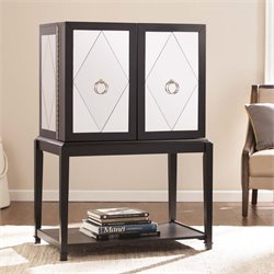 Southern Enterprises Starlynn Mirrored Bar Cabinet in Matte Black