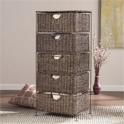 Kelsey Seagrass Storage Unit in Brown