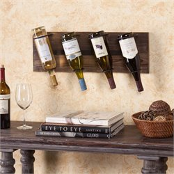 Southern Enterprises Saxon Wall Mount Wine Rack in Weathered Oak