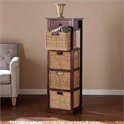 Southern Enterprises Kenton 4 Basket Storage Tower Unit in Mahogany