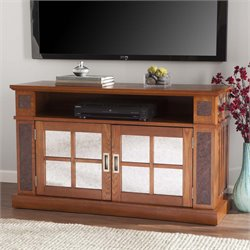Southern Enterprises Marcell Faux Stone TV Stand in Mission Oak