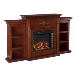 Southern Enterprises Fredricksburg Electric Fireplace w/ Bookcases in Mahogany