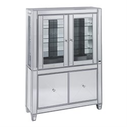 Southern Enterprises Mirage Curio Cabinet in Matte Silver