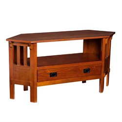 Southern Enterprises Carson Corner TV Stand in Brown Mahogany