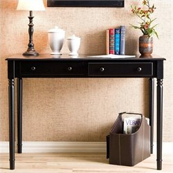 Southern Enterprises Parker 2-Drawer Writing Desk in Satin Black