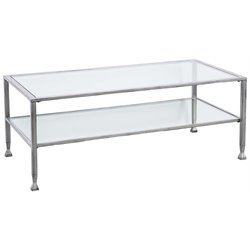 Southern Enterprises Jaymes Glass Top Metal Coffee Table