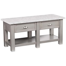 Southern Enterprises Youngston Faux Marble Top Coffee Table in Gray