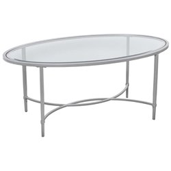 Southern Enterprises Quinton Oval Glass Top Coffee Table in Silver