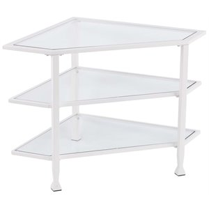 Southern Enterprises Jaymes Glass Top Metal Corner TV Stand