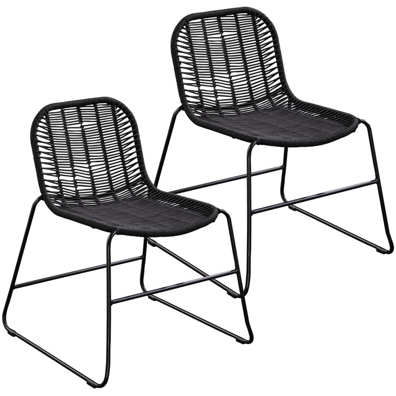 Southern Enterprises Evangola Stackable Rattan Patio Chair in Black