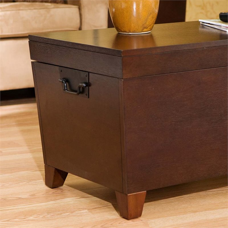 Southern Enterprises Pyramid Storage Trunk Coffee Table In Espresso Ck2224