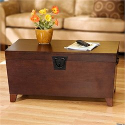 Southern Enterprises Pyramid Storage Trunk Coffee Table in Espresso