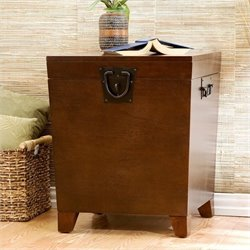 Southern Enterprises Wood Espresso Square Pyramid Trunk End Table