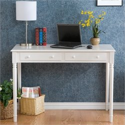 Southern Enterprises 2 Drawer Wood Writing Desk in Crisp White