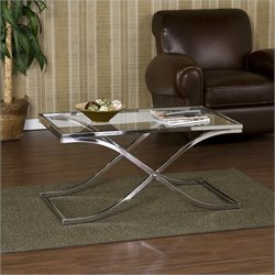 Southern Enterprises Vogue Chrome Cocktail Table